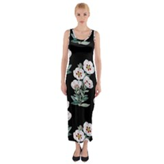 Floral Vintage Wallpaper Pattern 1516863120hfa Fitted Maxi Dress