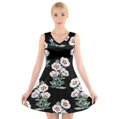 Floral Vintage Wallpaper Pattern 1516863120hfa V-neck Sleeveless Dress