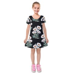 Floral Vintage Wallpaper Pattern 1516863120hfa Kids  Short Sleeve Velvet Dress