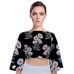 Floral Vintage Wallpaper Pattern 1516863120hfa Tie Back Butterfly Sleeve Chiffon Top