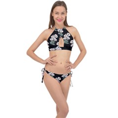 Floral Vintage Wallpaper Pattern 1516863120hfa Cross Front Halter Bikini Set