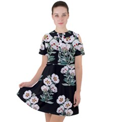 Floral Vintage Wallpaper Pattern 1516863120hfa Short Sleeve Shoulder Cut Out Dress