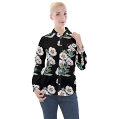 Floral Vintage Wallpaper Pattern 1516863120hfa Women s Long Sleeve Pocket Shirt