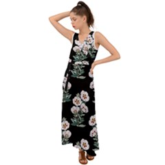 Floral Vintage Wallpaper Pattern 1516863120hfa V-neck Chiffon Maxi Dress