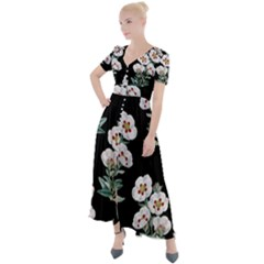 Floral Vintage Wallpaper Pattern 1516863120hfa Button Up Short Sleeve Maxi Dress