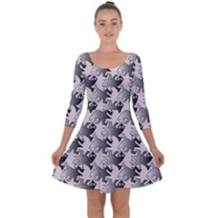 Seamless 3166142 Quarter Sleeve Skater Dress