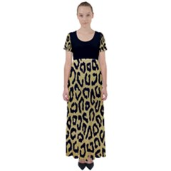 Ghepard Gold  High Waist Short Sleeve Maxi Dress
