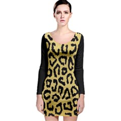 Ghepard Gold  Long Sleeve Bodycon Dress
