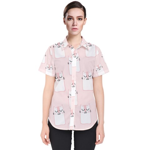 Pattern With Cats Women s Short Sleeve Shirt by Sobalvarro