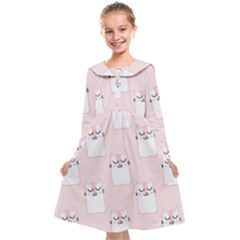 Pattern With Cats Kids  Midi Sailor Dress