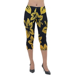 Gigli Gold  Lightweight Velour Capri Leggings