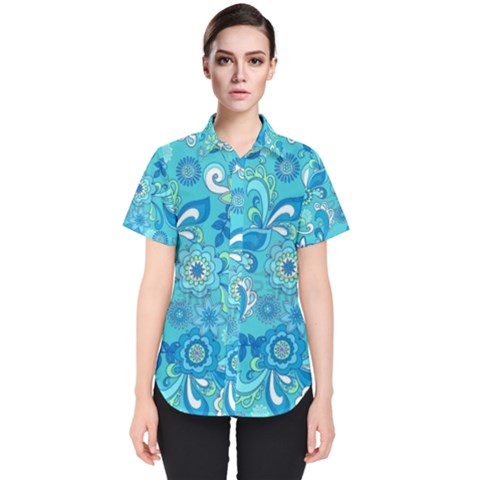 13781110617202508524762092 Funky Floral Seamless Repeat Pattern Vector Illustration 1 Hi Women s Short Sleeve Shirt by Sobalvarro