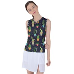 Succulent And Cacti Women s Sleeveless Sports Top