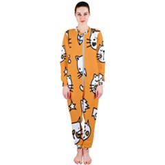 Cute Simple Orange Cat Seamless Pattern Onepiece Jumpsuit (ladies)  by Sobalvarro