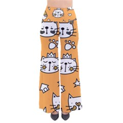 Cute Simple Orange Cat Seamless Pattern So Vintage Palazzo Pants by Sobalvarro