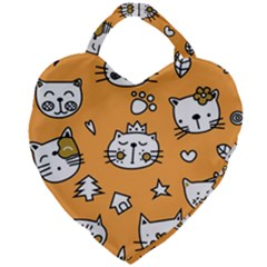 Cute Simple Orange Cat Seamless Pattern Giant Heart Shaped Tote by Sobalvarro