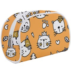 Cute Simple Orange Cat Seamless Pattern Makeup Case (large) by Sobalvarro