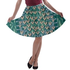 Heavy Metal Hearts And Belive In Sweet Love A-line Skater Skirt by pepitasart