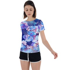 Flowers Back Circle Cutout Sports Tee