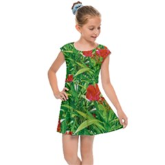 Red Flowers And Green Plants At Outdoor Garden Kids  Cap Sleeve Dress