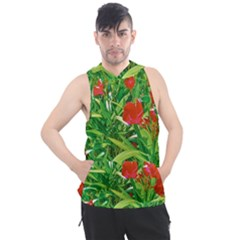 Red Flowers And Green Plants At Outdoor Garden Men s Sleeveless Hoodie