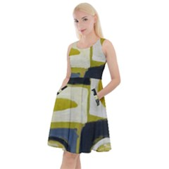 Abstract Landscape  Knee Length Skater Dress With Pockets by Sobalvarro