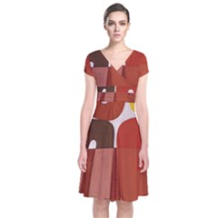Sophie Taeuber Arp, Composition À Motifs D arceaux Ou Composition Horizontale Verticale Short Sleeve Front Wrap Dress by Sobalvarro