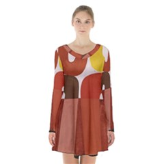Sophie Taeuber Arp, Composition À Motifs D arceaux Ou Composition Horizontale Verticale Long Sleeve Velvet V-neck Dress by Sobalvarro
