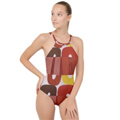 Sophie Taeuber Arp, Composition À Motifs D arceaux Ou Composition Horizontale Verticale High Neck One Piece Swimsuit by Sobalvarro