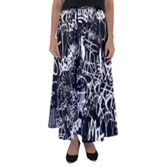 Graffiti Abstract Collage Print Pattern Flared Maxi Skirt