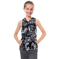 Graffiti Abstract Collage Print Pattern Kids  Sleeveless Hoodie by dflcprintsclothing