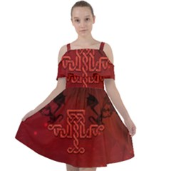 Decorative Celtic Knot With Dragon Cut Out Shoulders Chiffon Dress