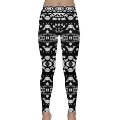 Black And White Modern Ornate Stripes Design Classic Yoga Leggings by dflcprintsclothing