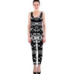 Black And White Modern Ornate Stripes Design One Piece Catsuit by dflcprintsclothing