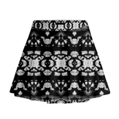 Black And White Modern Ornate Stripes Design Mini Flare Skirt by dflcprintsclothing