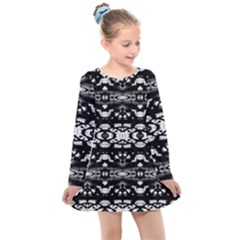 Black And White Modern Ornate Stripes Design Kids  Long Sleeve Dress by dflcprintsclothing