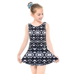 Black And White Modern Ornate Stripes Design Kids  Skater Dress Swimsuit by dflcprintsclothing