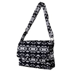 Black And White Modern Ornate Stripes Design Full Print Messenger Bag (m) by dflcprintsclothing
