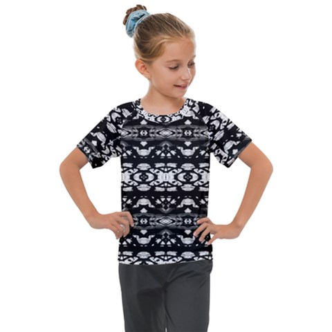 Black And White Modern Ornate Stripes Design Kids  Mesh Piece Tee by dflcprintsclothing
