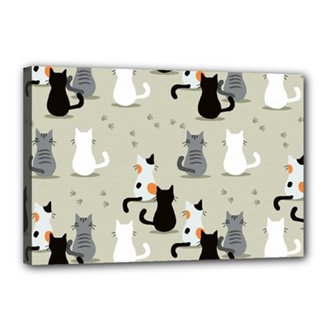 Cute Cat Seamless Pattern Canvas 18  X 12  (stretched)