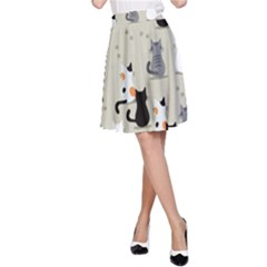 Cute Cat Seamless Pattern A-line Skirt by Vaneshart