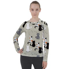 Cute Cat Seamless Pattern Women s Pique Long Sleeve Tee