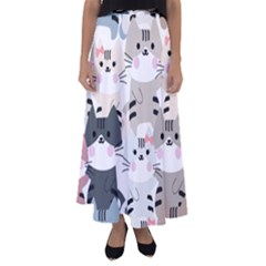 Cute Cat Couple Seamless Pattern Cartoon Flared Maxi Skirt by Vaneshart