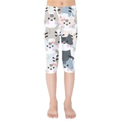 Cute Cat Couple Seamless Pattern Cartoon Kids  Capri Leggings  by Vaneshart