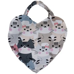 Cute Cat Couple Seamless Pattern Cartoon Giant Heart Shaped Tote by Vaneshart