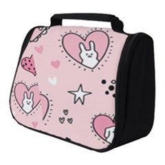 Cartoon Cute Valentines Day Doodle Heart Love Flower Seamless Pattern Vector Full Print Travel Pouch (small)