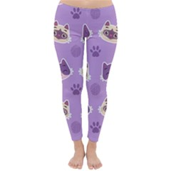 Cute Colorful Cat Kitten With Paw Yarn Ball Seamless Pattern Classic Winter Leggings