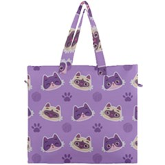 Cute Colorful Cat Kitten With Paw Yarn Ball Seamless Pattern Canvas Travel Bag