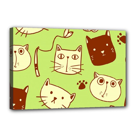 Cute Hand Drawn Cat Seamless Pattern Canvas 18  X 12  (stretched)