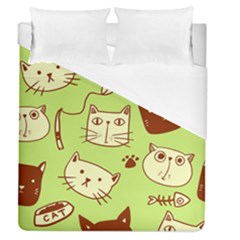 Cute Hand Drawn Cat Seamless Pattern Duvet Cover (queen Size) by Vaneshart